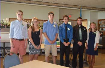 2014 Scholarship Winners Derek L. Smith, Emily H. Kling, Matthew P. Johnson,                 Mitchell Lanper, Joshua Lamper and Shelby Adams. Absentis Melissa McGrath
